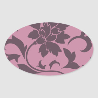 Oriental Flower - Cherry Chocolate & Strawberry Oval Sticker