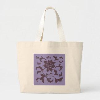 Oriental Flower - Cherry Chocolate & Violet Tulip Large Tote Bag