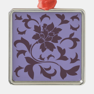 Oriental Flower - Cherry Chocolate & Violet Tulip Silver-Colored Square Ornament