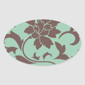 Oriental Flower - Chocolate Hemlock Oval Sticker