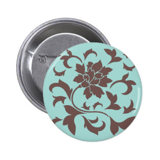 Oriental Flower - Chocolate Limpet Shell 2 Inch Round Button