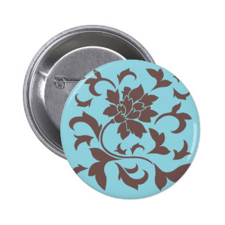 Oriental Flower - Chocolate & Pastel Blue 2 Inch Round Button