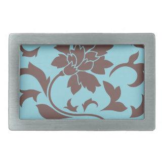 Oriental Flower - Chocolate & Pastel Blue Belt Buckles