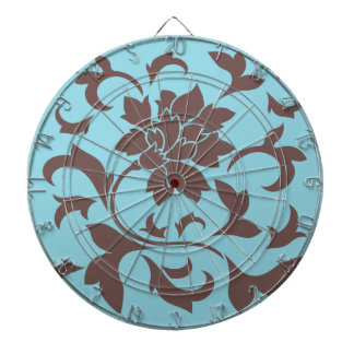 Oriental Flower - Chocolate & Pastel Blue Dartboard