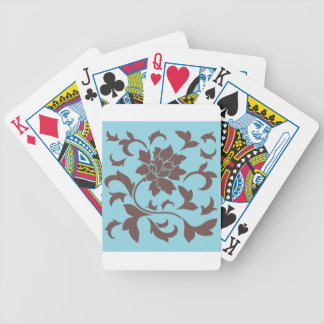 Oriental Flower - Chocolate & Pastel Blue Poker Deck