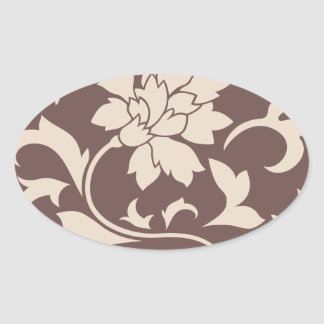Oriental Flower - Coffee Latte Chocolate Oval Sticker