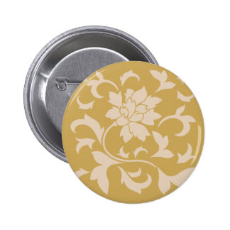 Oriental Flower - Coffee Latte & Spicy Mustard 2 Inch Round Button