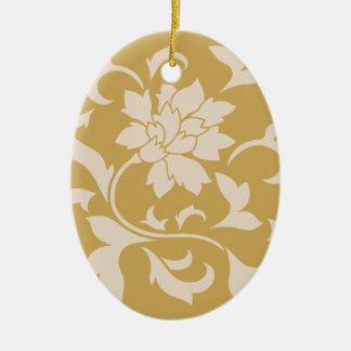 Oriental Flower - Coffee Latte & Spicy Mustard Ceramic Ornament
