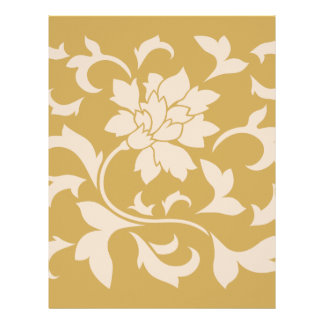 Oriental Flower - Coffee Latte & Spicy Mustard Letterhead