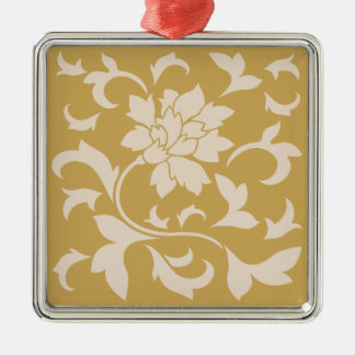 Oriental Flower - Coffee Latte & Spicy Mustard Metal Ornament