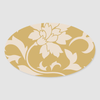 Oriental Flower - Coffee Latte & Spicy Mustard Oval Sticker