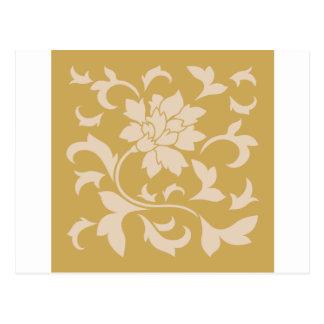 Oriental Flower - Coffee Latte & Spicy Mustard Postcard