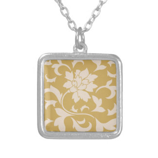 Oriental Flower - Coffee Latte & Spicy Mustard Silver Plated Necklace