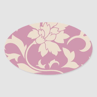 Oriental Flower - Coffee Latte & Strawberry Oval Sticker