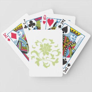 Oriental Flower - Daiquiri Green Circular Pattern Bicycle Playing Cards
