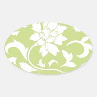 Oriental Flower - Daiquiri Green Circular Pattern Oval Sticker