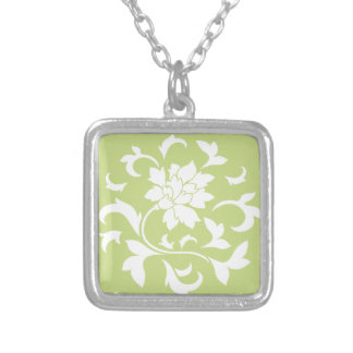 Oriental Flower - Daiquiri Green Circular Pattern Silver Plated Necklace