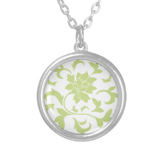 Oriental Flower - Daiquiri Green Circular Pattern Silver Plated Necklace