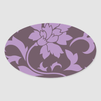 Oriental Flower - Lilac & Cherry Chocolate Oval Sticker