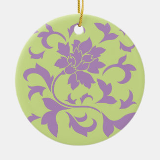 Oriental Flower - Lilac & Daiquiri Green Ceramic Ornament
