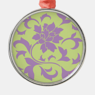 Oriental Flower - Lilac & Daiquiri Green Metal Ornament
