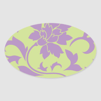 Oriental Flower - Lilac & Daiquiri Green Oval Sticker