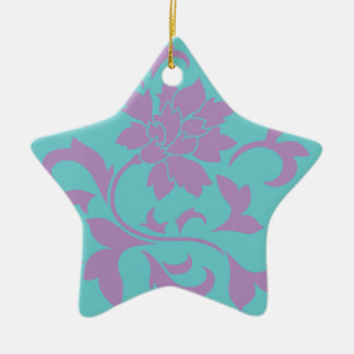 Oriental Flower - Lilac Mint Ceramic Ornament