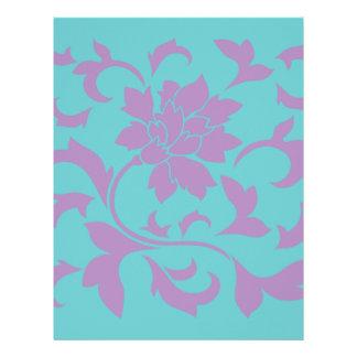 Oriental Flower - Lilac Mint Custom Letterhead