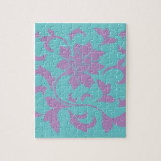 Oriental Flower - Lilac Mint Jigsaw Puzzle