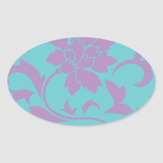 Oriental Flower - Lilac Mint Oval Sticker
