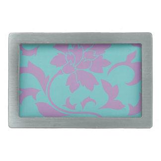 Oriental Flower - Lilac Mint Rectangular Belt Buckles