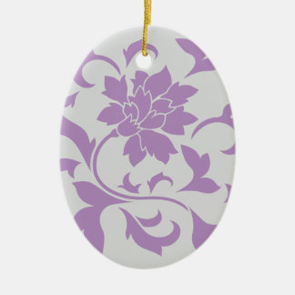 Oriental Flower - Lilac Silver Ceramic Ornament