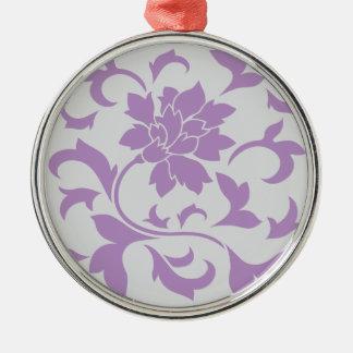 Oriental Flower - Lilac Silver Metal Ornament