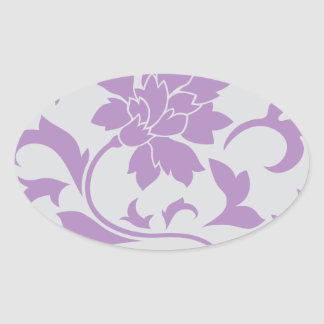 Oriental Flower - Lilac Silver Oval Sticker