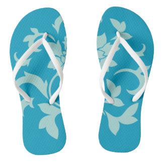 Oriental Flower-Limpet Shell-Blue White Flip Flops