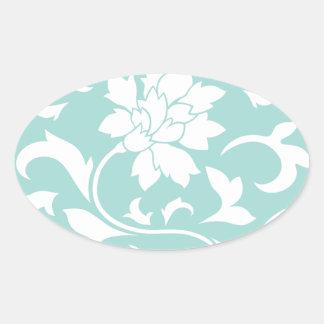 Oriental Flower - Limpet Shell Circular Pattern Oval Sticker