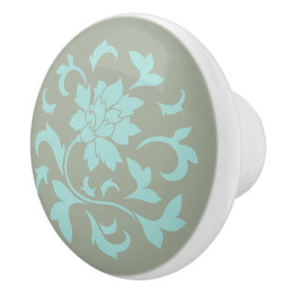 Oriental Flower - Limpet Shell - Olive green Ceramic Knob