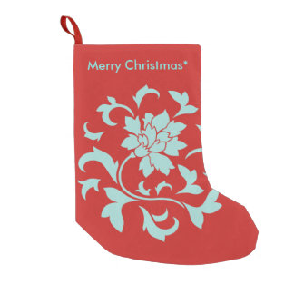 Oriental Flower - Merry Christmas - Red Small Christmas Stocking