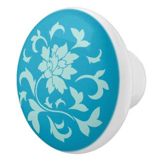 Oriental Flower - Mint - Blue Ceramic Knob