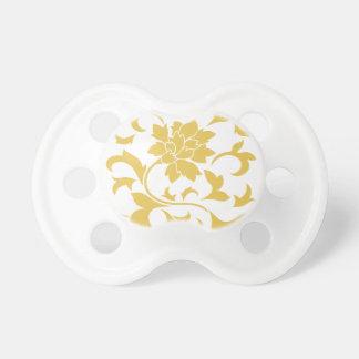Oriental Flower - Mustard Yellow Baby Pacifiers