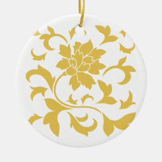 Oriental Flower - Mustard Yellow Ceramic Ornament