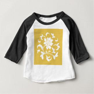 Oriental Flower - Mustard Yellow Circular Pattern Baby T-Shirt