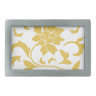 Oriental Flower - Mustard Yellow Circular Pattern Belt Buckle