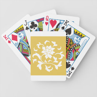 Oriental Flower - Mustard Yellow Circular Pattern Bicycle Playing Cards