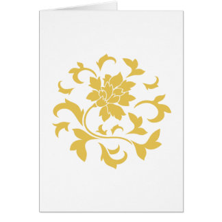 Oriental Flower - Mustard Yellow Circular Pattern Card