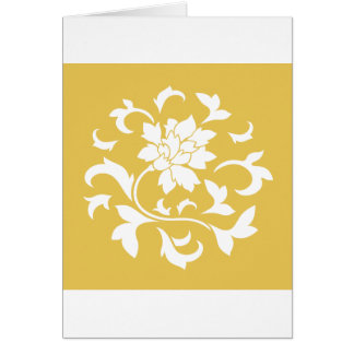 Oriental Flower - Mustard Yellow Circular Pattern Card