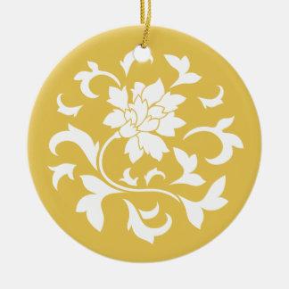 Oriental Flower - Mustard Yellow Circular Pattern Ceramic Ornament