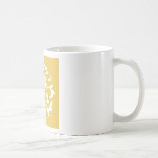 Oriental Flower - Mustard Yellow Circular Pattern Coffee Mug