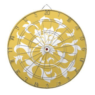 Oriental Flower - Mustard Yellow Circular Pattern Dartboard