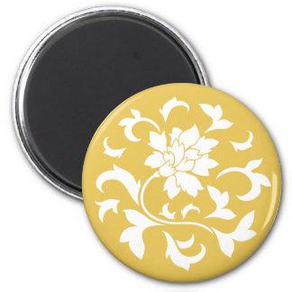 Oriental Flower - Mustard Yellow Circular Pattern Magnet